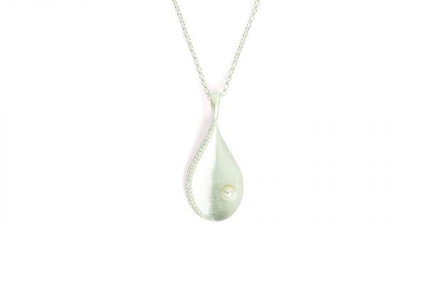 BERND WOLF Silber-Collier Aquaperla - Zirkonia - Perle