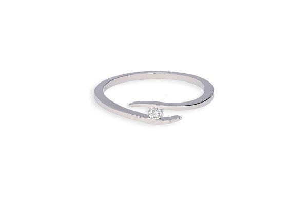 Verlobungsring 585 Weißgold mit 0,05 ct Brillant - Gr. 56