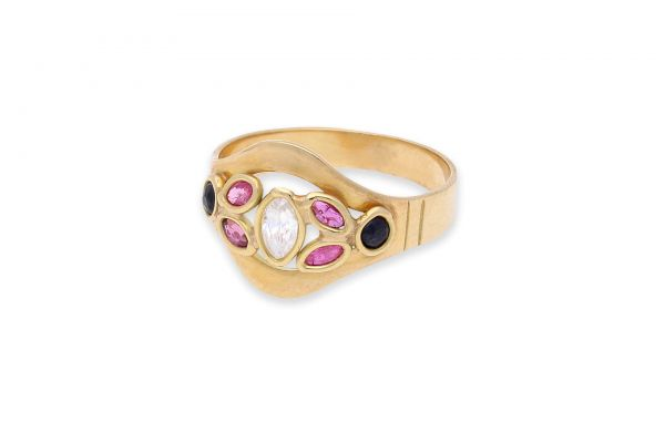 Ring 750 Gelbgold • Rubin • Saphir • Zirkonia • Vorderansicht