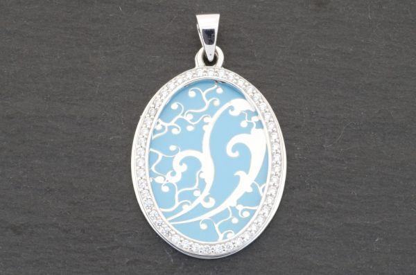 Gerry Eder 925 Silber Trachten Amulette Anhänger in Hellblau