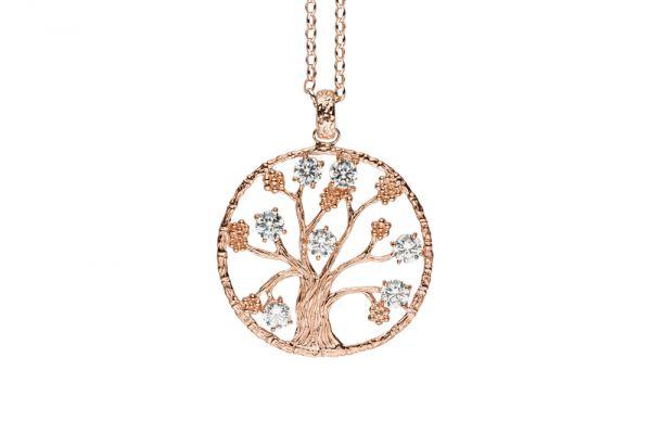 Julie Julsen Lebensbaum L in 925 Silber Rosévergoldet mit Zirkonia