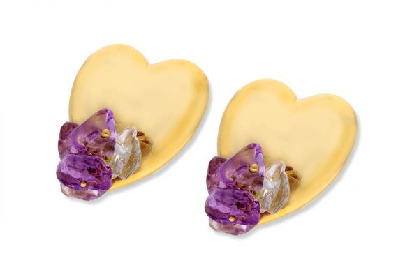 Ohrhänger Herz 750 Gelbgold • Amethyst