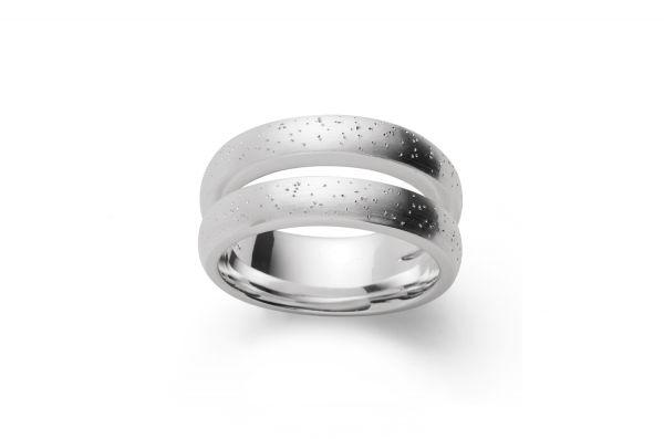 Bastian Doppelring 925 Silber mit Diamantierung