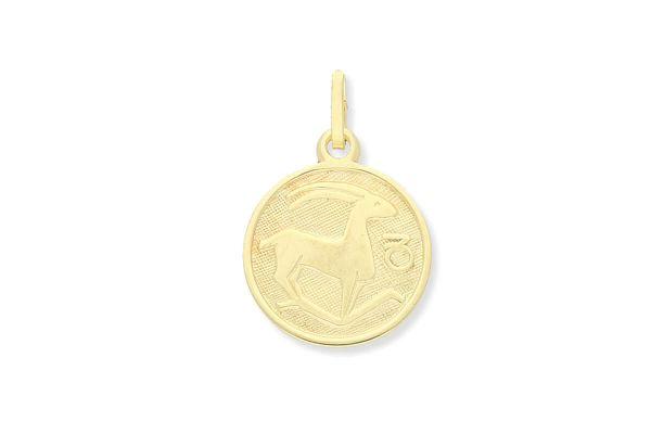 Sternzeichen Steinbock - Anhänger rund 333 Gold