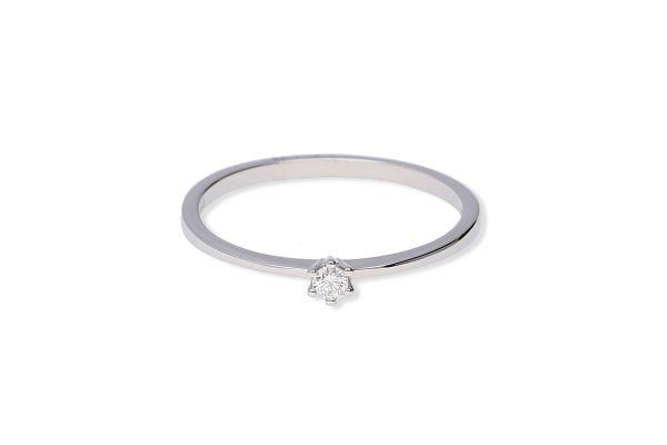 Verlobungsring 585 Weißgold mit 0,05 ct Brillant - Gr. 54