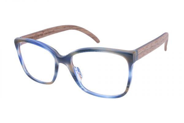 Edelweyes Brille ESELSTEIN - Blau Braun - Nussholz