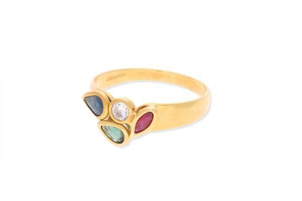 Ring 750 Gelbgold • Rubin • Saphir • Zirkonia • Smaragd