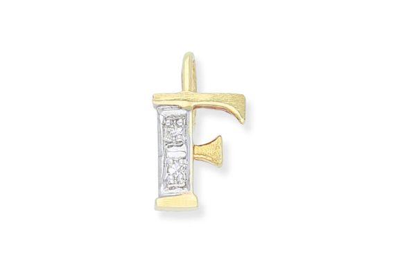 585 Gold Anhänger Buchstabe F mit Diamanten