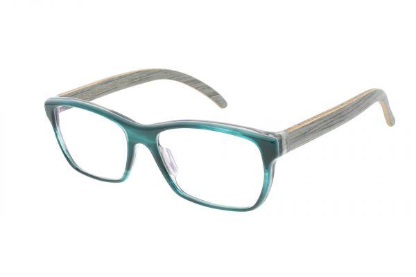 Edelweyes Brille WILDALPE - Acetat – Petrol – Eiche grau
