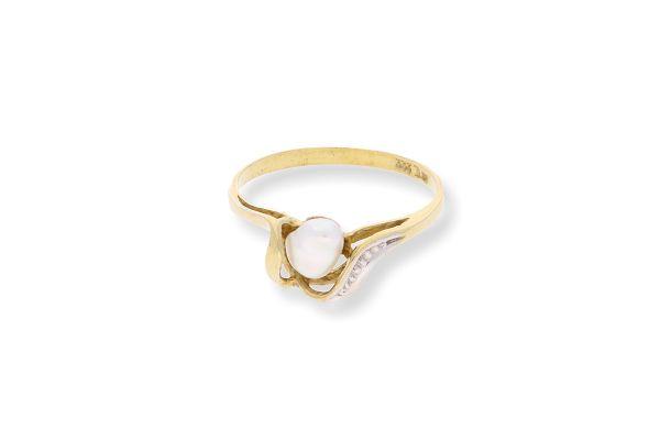 Ring 333 Gelbgold mit Süßwasserperle - Gr. 53