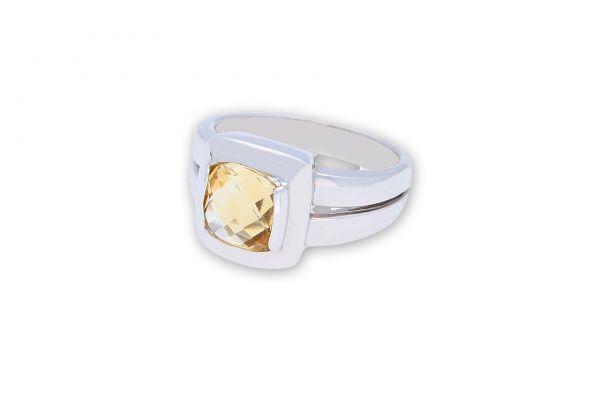 Ring 750 Weißgold • Citrin • Seitenansicht