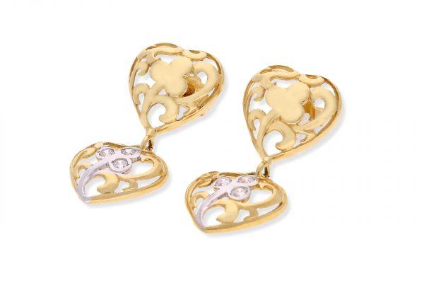Ohrhänger Herz 750 Gelbgold • Zirkonia