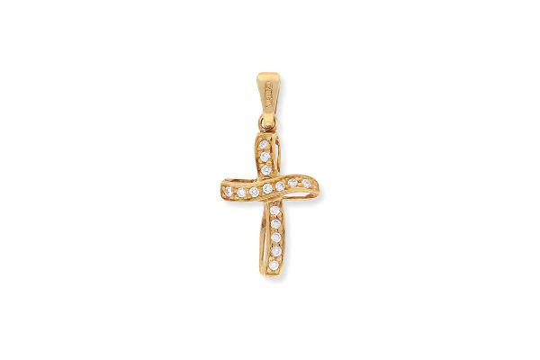 Kreuz Anhänger aus 750er Gelbgold • Zirkonia