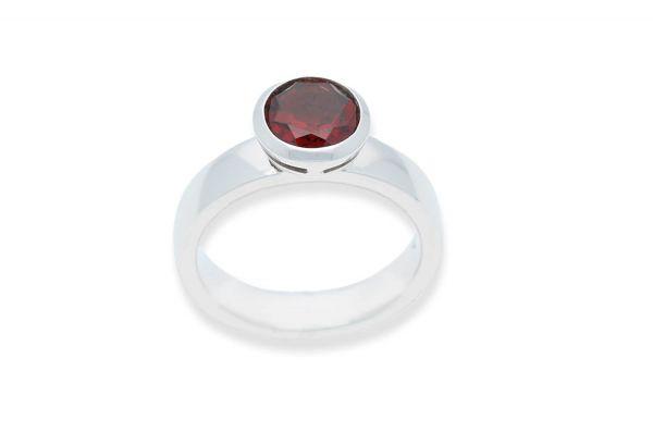 Bastian Ring mit Granat Silber 925 rhodiniert - 12109