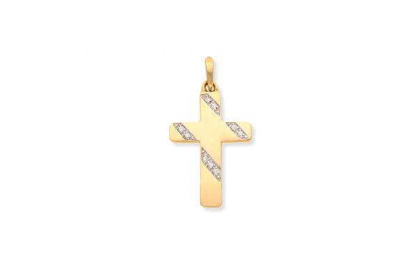 585 Gold Kreuz Anhänger mit Zirkonia