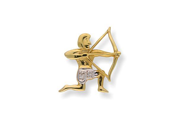 Sternzeichen Schütze - Anhänger 333 Gold mit Diamantbesatz