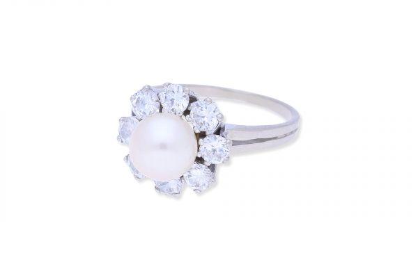 Ring 585 Weißgold • Perle • Brillanten 1,2ct.