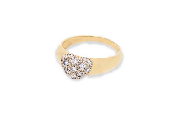 Ring 750 Gelbgold • Brillanten • Herz • Vorderansicht