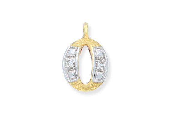 585 Gold Anhänger Buchstabe O mit Diamanten