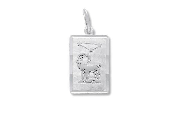 Sternzeichen Widder - Anhänger quadratisch 925 Silber