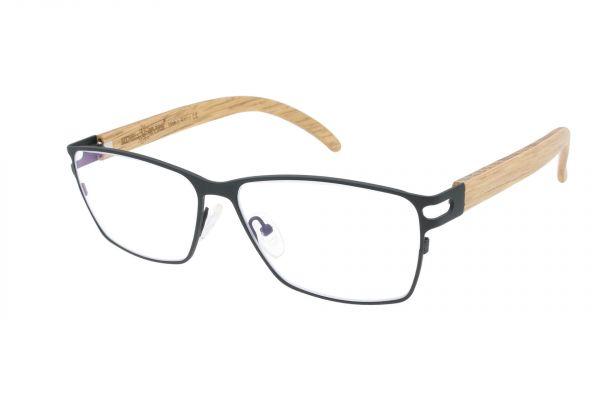 Edelweyes Brille LEOBEN - Neusilber - Anthrazit - Eiche