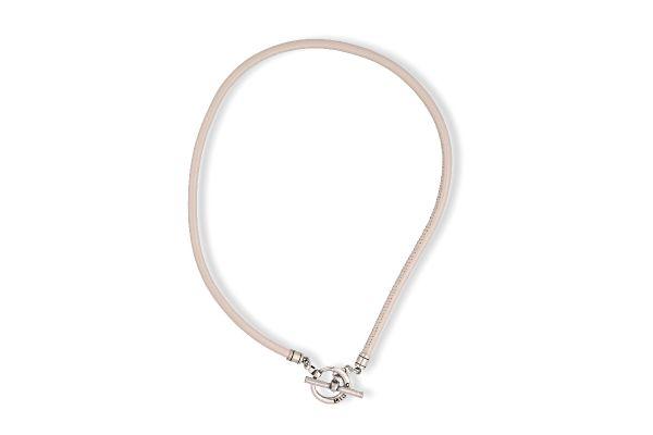 Miglio Halskette N1635M versilbert Leder Beige mit Knebelverschluss