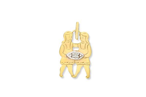 Sternzeichen Zwilling - Anhänger 333 Gold mit Diamantbesatz
