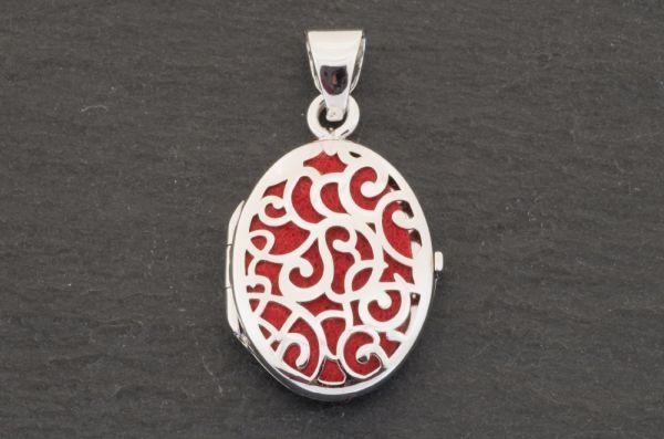 Gerry Eder 925 Silber Trachten Medaillon Anhänger in Rot