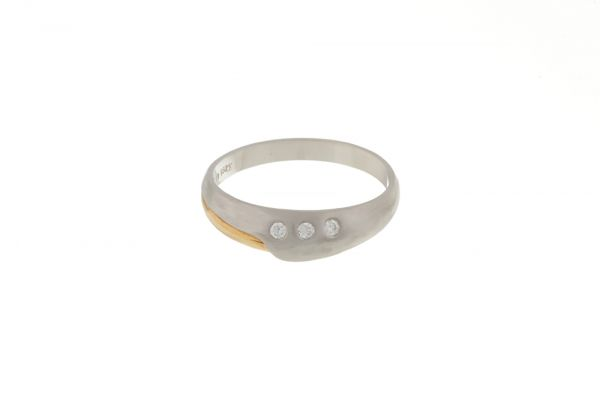 Ring 950 Platin / 750 Gelbgold mit Brillanten - Gr. 54