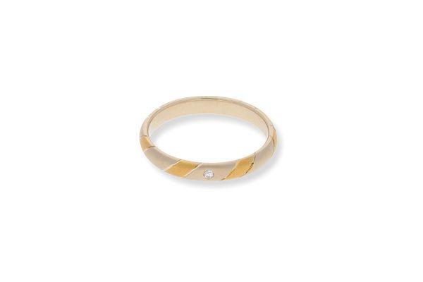 Ring 585 Gelbgold / Weißgold mit 0,02 ct Brillant - Gr. 54