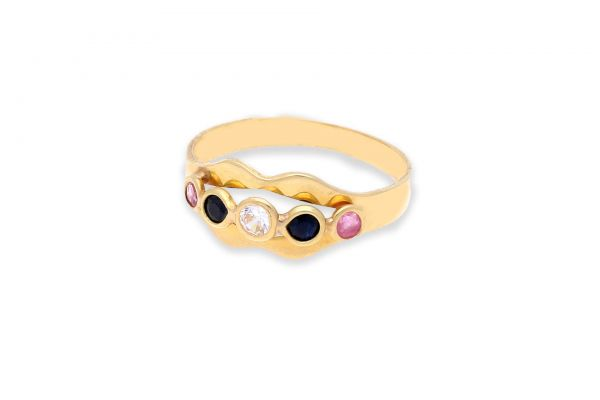 Ring 750 Gelbgold • Saphir • Rubin • Zirkonia • Vorderansicht