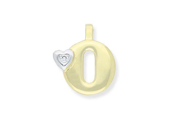585 Gold Anhänger Buchstabe O mit Herz