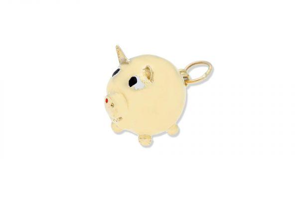 Glücksschwein Anhänger aus 585er Gelbgold