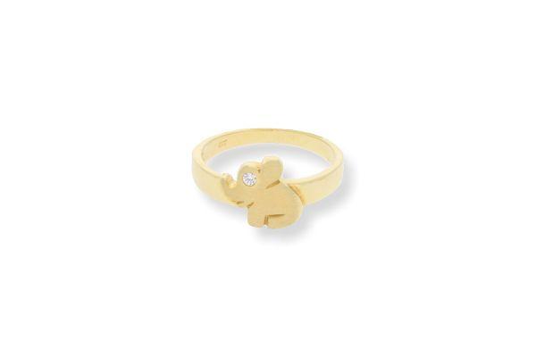Kinderring 333 Gelbgold Elefantenform mit Zirkonia - Gr. 48