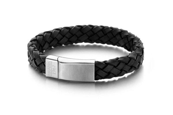 Frank 1967 Herren-Armband aus Echt Leder, schwarz