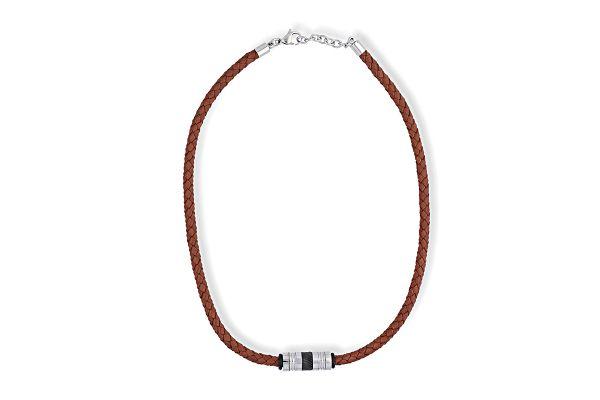 s.Oliver Halskette mit Leder - Länge 48 cm
