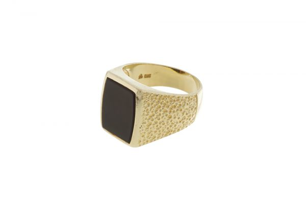 Ring 585 Gelbgold mit Onyx - Gr. 63