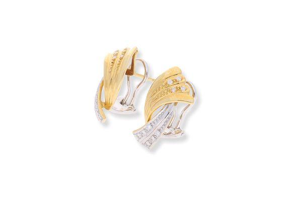 Ohrclips 750 Gelbgold • Weißgold • Brillanten • Vorderansicht