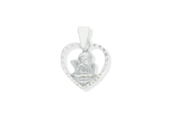 925 Silber Schutzengel Anhänger Herz durchbrochen