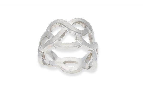 Bastian Ring Silber 925 rhodiniert Flechtmuster - 12908