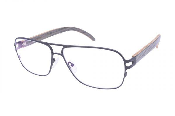 Edelweyes Brille PÖLS - Neusilber - Anthrazit - Eichenholz