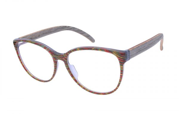 Edelweyes Brille DENECK - Domino Bunt - Eichenholz Grau