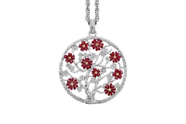 Julie Julsen Lebensbaum L in 925 Silber mit roten Blüten und Zirkonia
