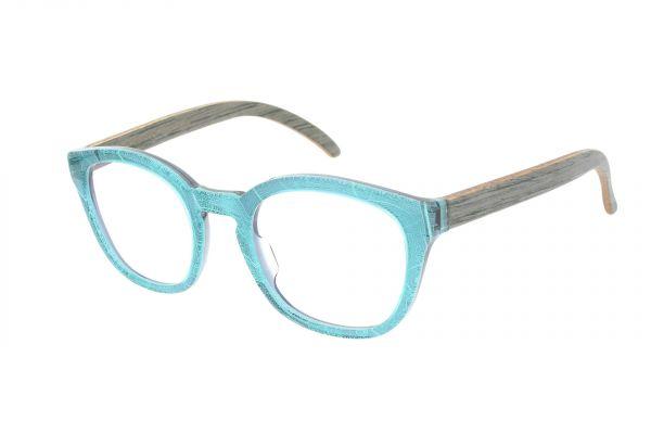 Edelweyes Brille HEXENTURM - Acetat – Blatt Türkis - Eiche Grau