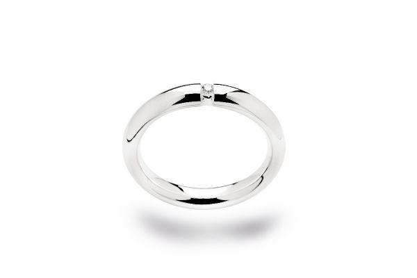 Bastian Ring 925 Silber mit 0,03 ct Diamant Rhodiniert