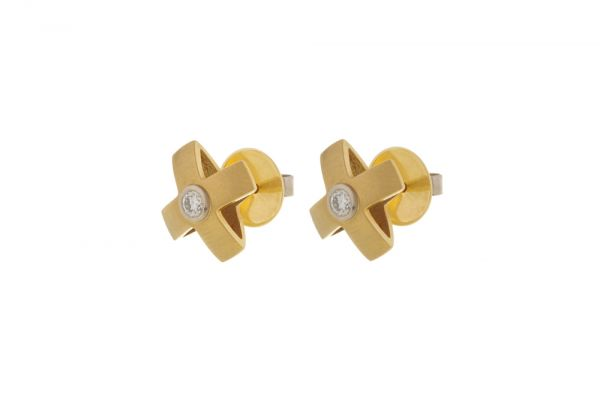 Ohrstecker 750 Gelbgold mit Brillant - Kreuz