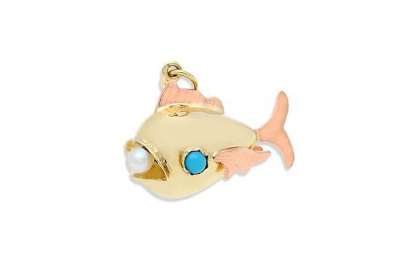Großer Fisch Anhänger aus 585er Gelbgold und Rotgold