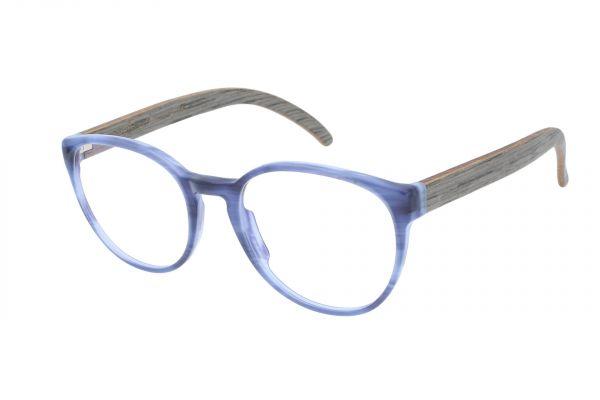 Edelweyes Brille KNALLSTEIN- Acetat - Blau Marmoriert- Eiche grau