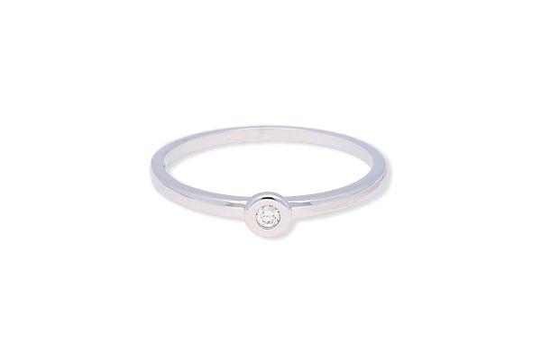 Verlobungsring 585 Weißgold mit 0,03 ct Brillant - Gr. 54