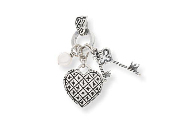 Miglio Anhänger EN1263 versilbert Herz mit Schlüsselanhängern und weißer Perle